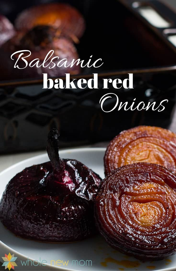 Bakes Red Onions with Balsamic on a plate