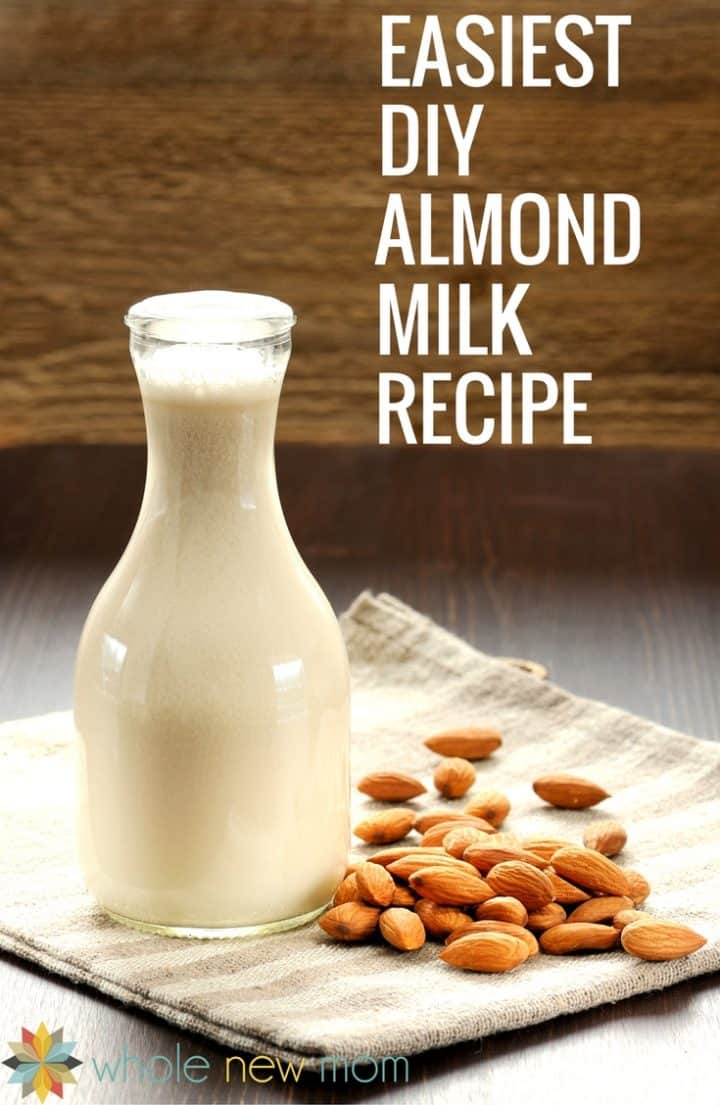 THE Easiest Homemade Almond Milk Recipe Ever. No nut bags or straining required. Save loads of money over store bought dairy-free milk!