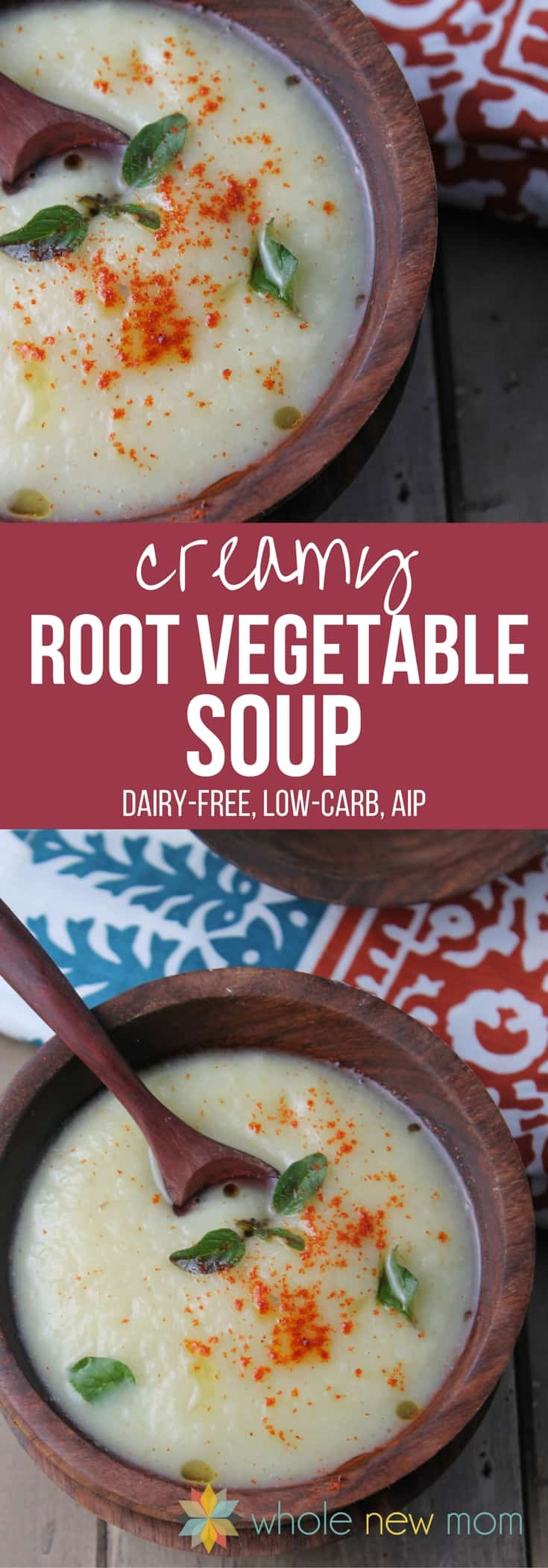 This creamy root vegetable soup is both comforting and nourishing! You wouldn't know it's paleo, low carb, dairy-free, gluten-free, and AIP friendly!