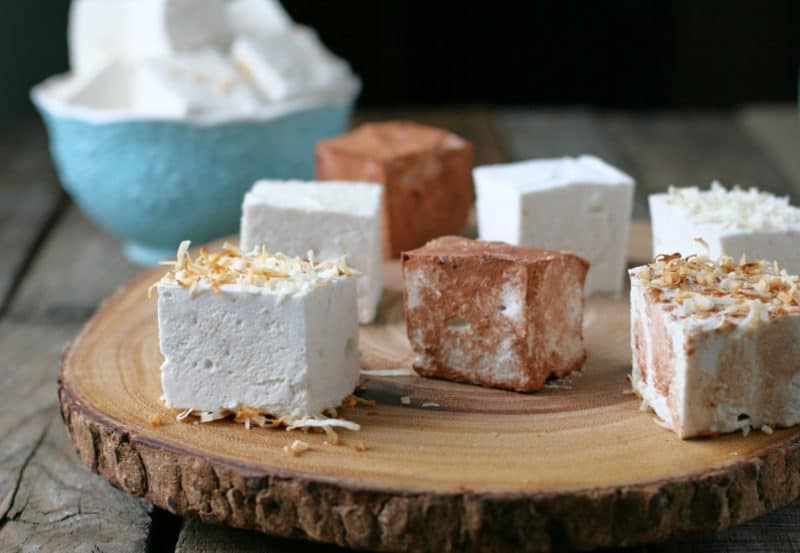 homemade marshmallows on a round wood platter