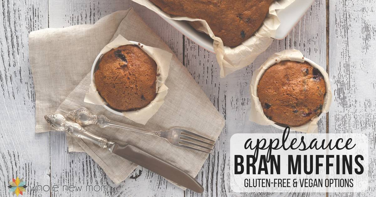 These applesauce bran muffins are moist and delicious and not too sweet. It's an easy recipe with gluten-free and vegan options.
