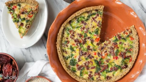 This Easy Crust Dairy-Free Quiche is loaded with Veggies in a Gluten-free Quinoa Crust (grain-free option). It's a make ahead meal that's sure to please!
