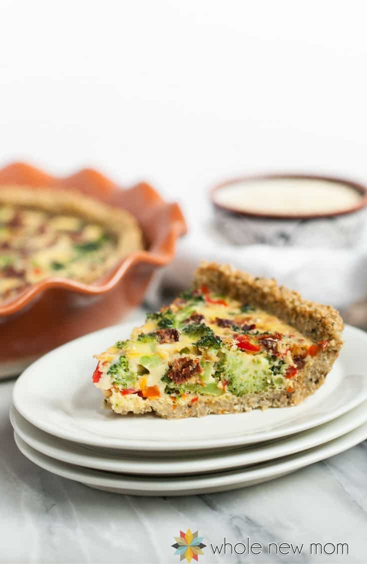 This Broccoli & Veggie Dairy Free Quiche has a Quinoa Crust. It's an easy make ahead meal that's sure to please!