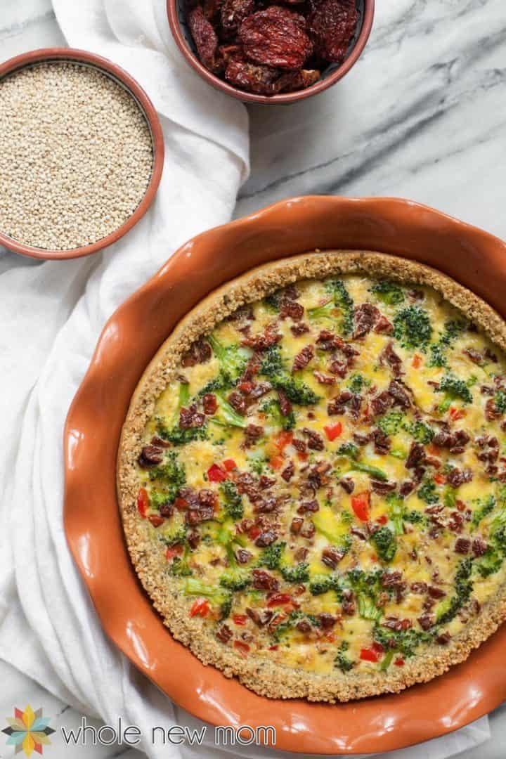 dairy-free quiche in quiche pan