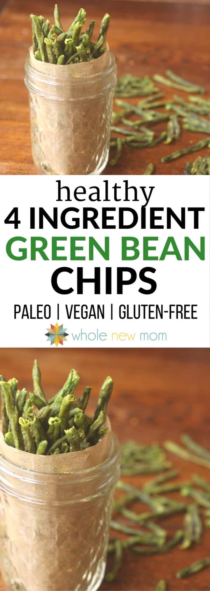 Looking for a healthy snack? This Addictive Green Bean Chips recipe is super easy and they are so much healthier than the store bought veggie chips. Skip the GMO canola oil from the packaged veggie chips and make these instead.