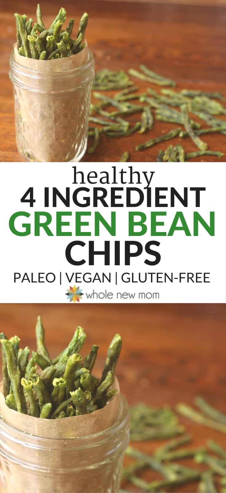 Healthy Veggie Chips! Get more veggies into your diet with these Crispy Green Bean Chips--a great healthy snack that's easy to make!