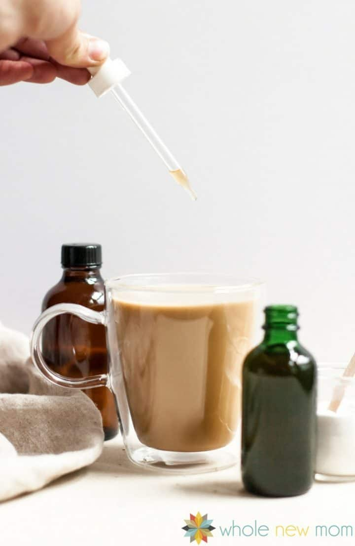 Liquid Stevia Drops with a cup of coffee