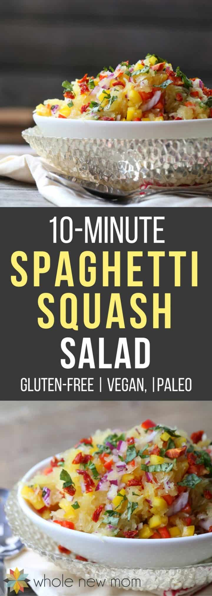 A tangy dressing coats this Spaghetti Squash Salad for a easy healthy side dish that's allergy-friendly, low-carb, paleo, with AIP options.