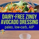 f you love avocados, you'll love this Creamy Vegan Avocado Dressing Recipe - it's dairy-free, low carb, and AIP too, has none of the toxic ingredients found in store bought dressings and makes a great dip too!