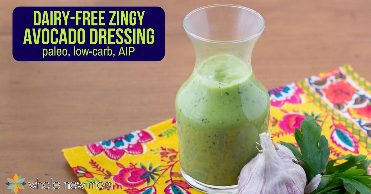If you love avocados, you'll love this Creamy Vegan Avocado Dressing Recipe - it's dairy-free, low carb, and AIP too, has none of the toxic ingredients found in store bought dressings and makes a great dip too!