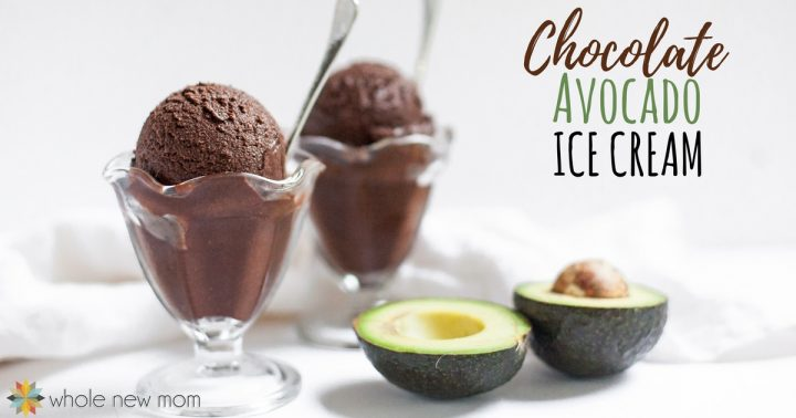 Chocolate Avocado Ice Cream with spoons in dessert cups next to avocado halves