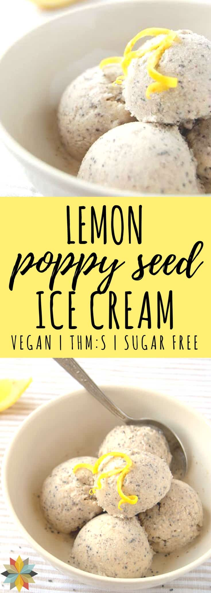 Lemon Poppy Seed Ice Cream - vegan, sugar-free, dairy-free, low carb, and THM:S