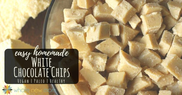 homemade white chocolate chips in a glass bowl
