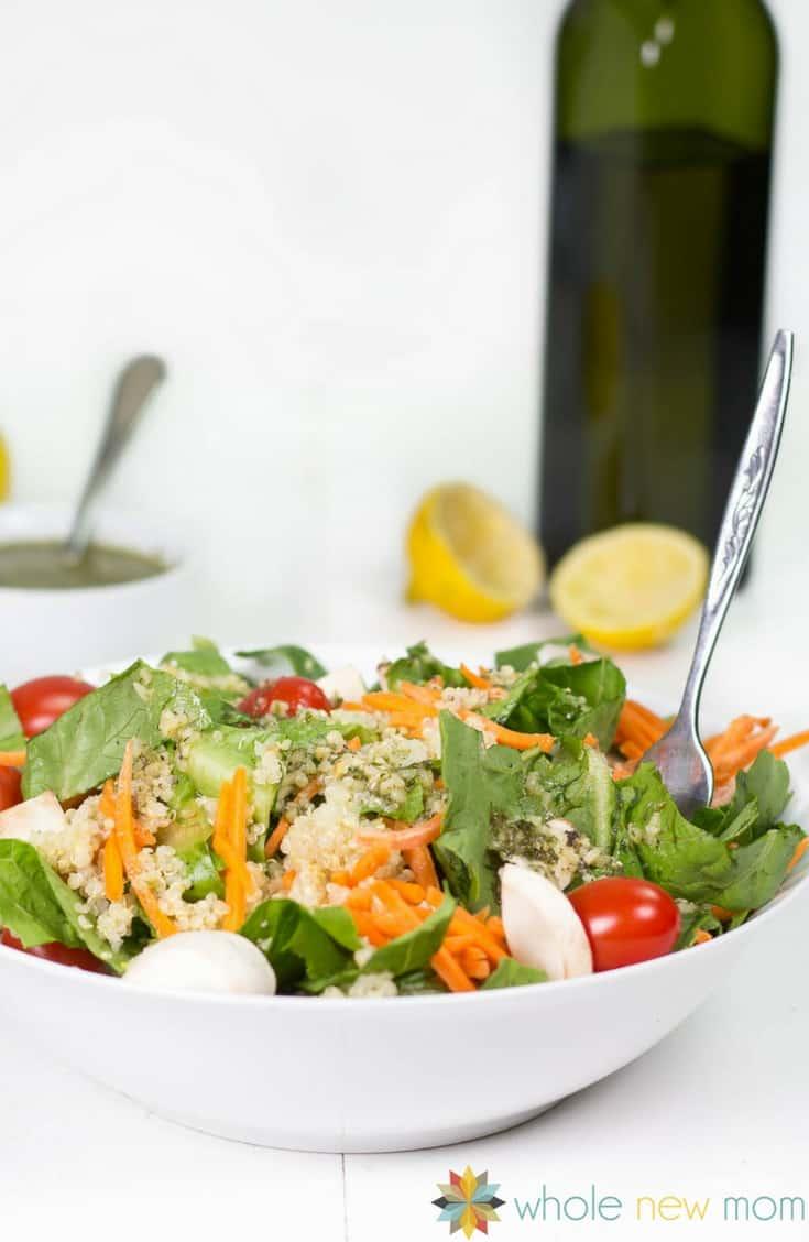 Healthy Easy Vegan Quinoa Salad - gluten free, Whole30 & THM