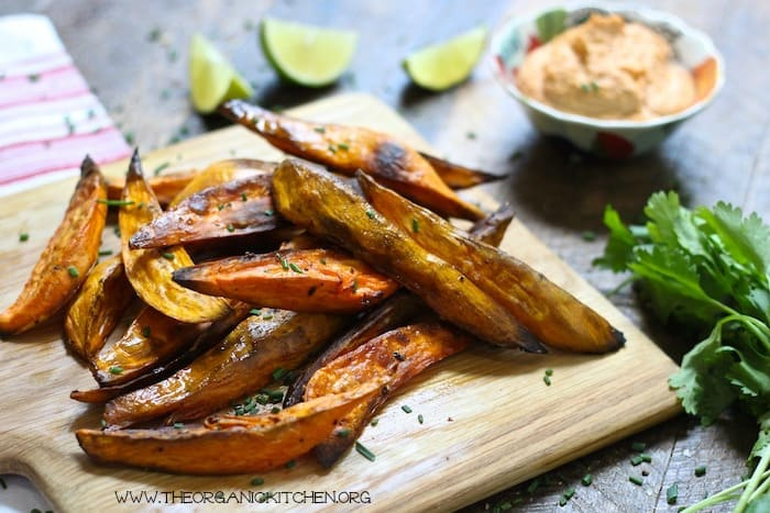 Healthy Easy Baked Sweet Potato Wedges with Chipotle Cashew Dip