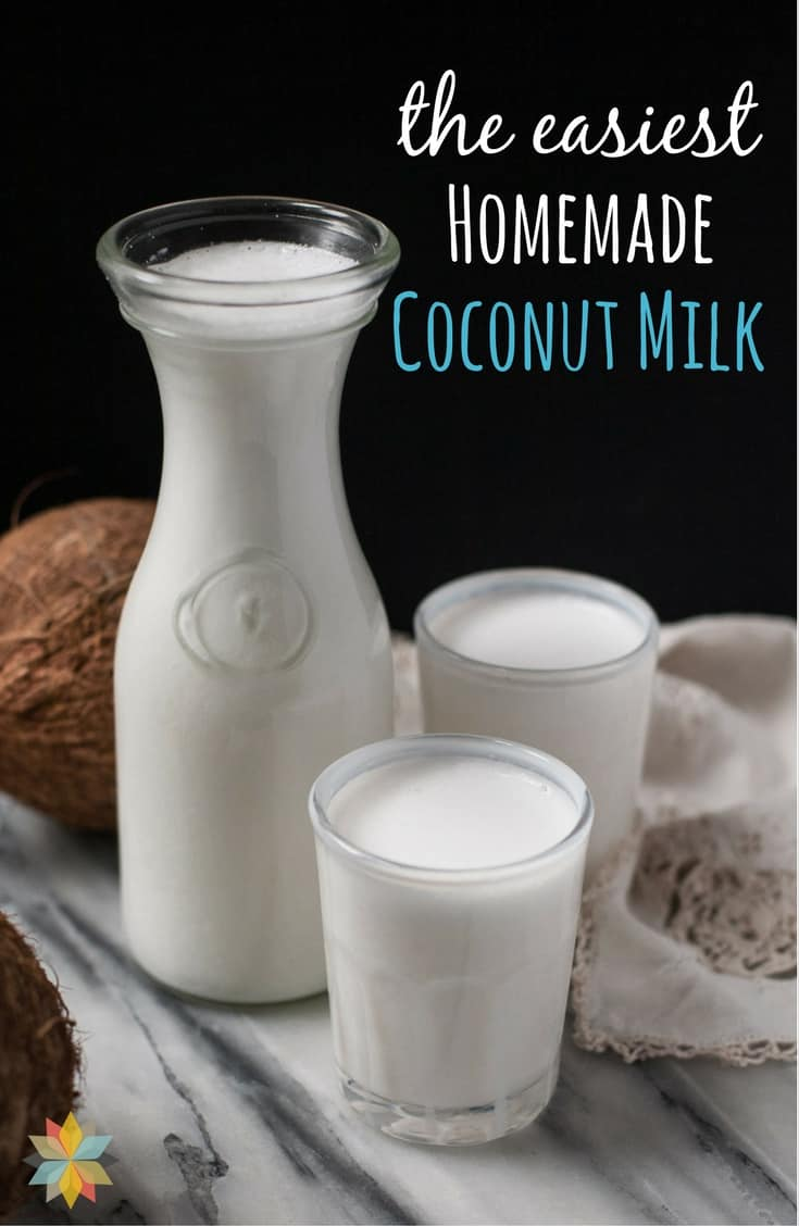 Homemade Coconut Milk in carafe and glasses