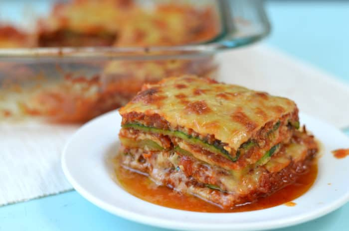 I LOVE lasagna, but we're eating low carb more and more, so this low-carb grain-free lasagna is perfect! Zucchini lasagna with dairy & egg-free option.