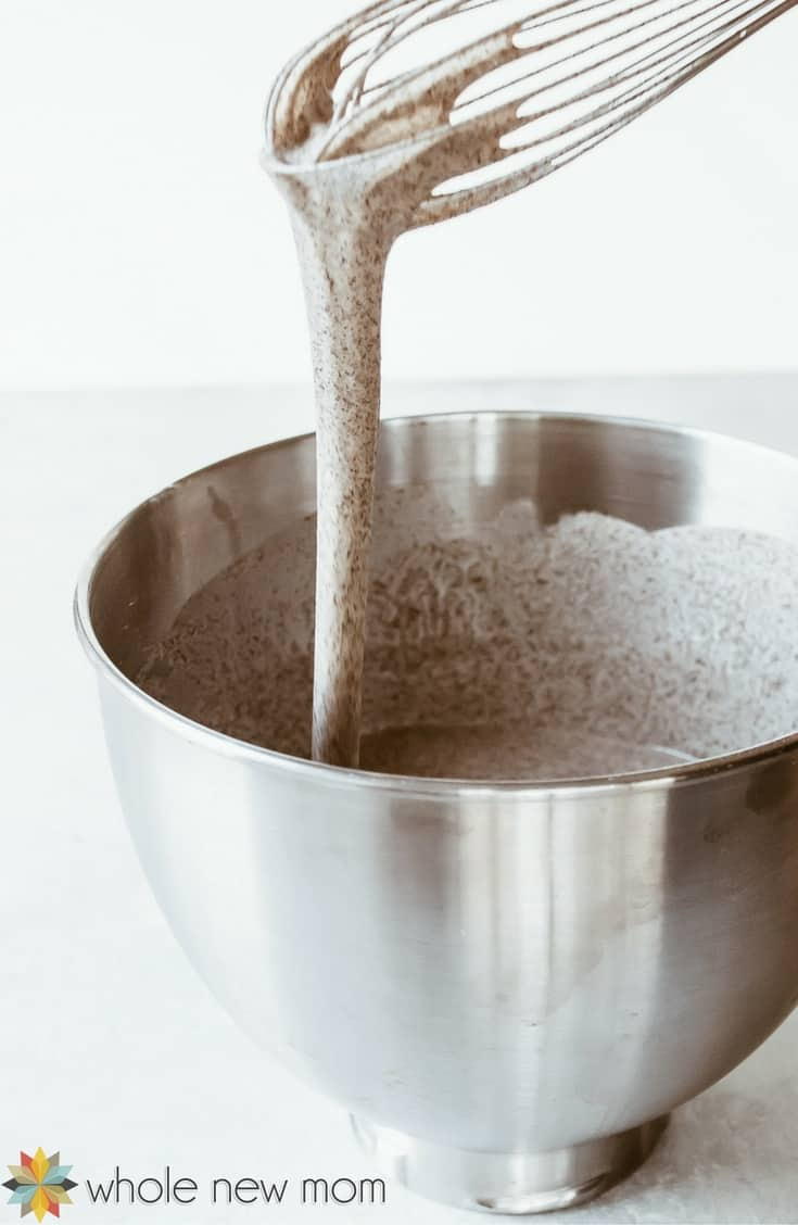 Buckwheat Pancake Batter dripping off of whisk