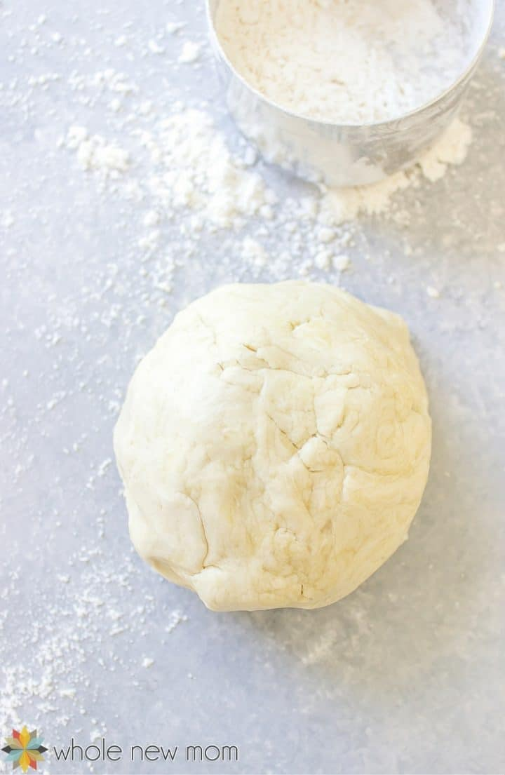Pie Crust Dough next to sifter