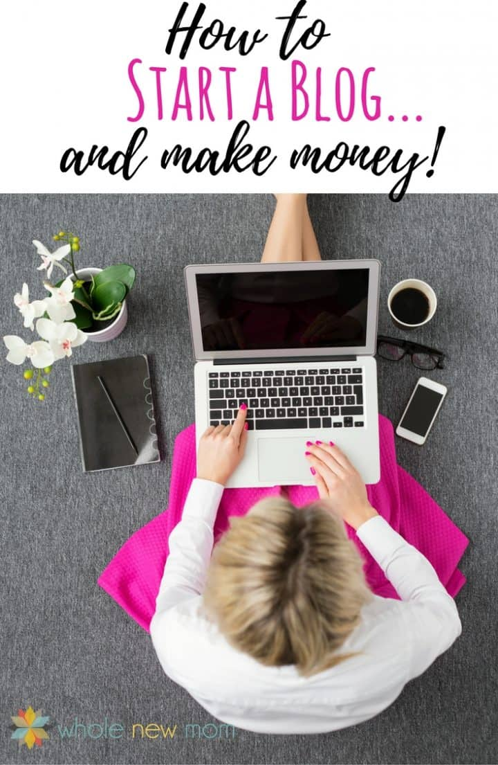 Lady working on laptop with notebook, cell phone and coffee - How to Start a Blog