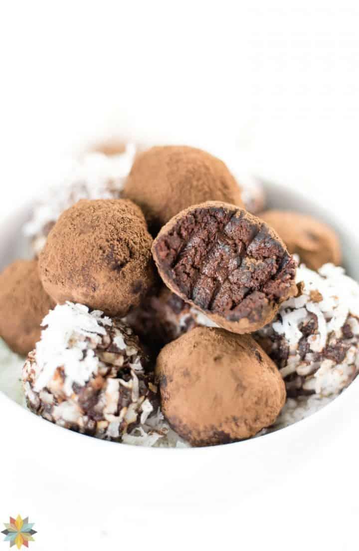 chocolate avocado truffles in a white bowl
