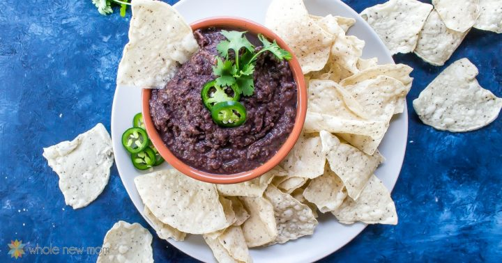 Easy Fat-free Black Bean Dip in a bowl with chips