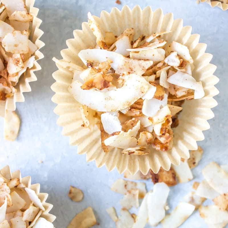 coconut chips in cupcake liners