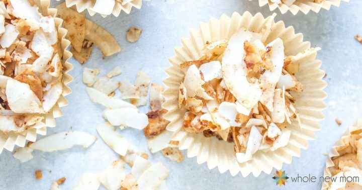 sweetened coconut chips in cupcake wrapper holders