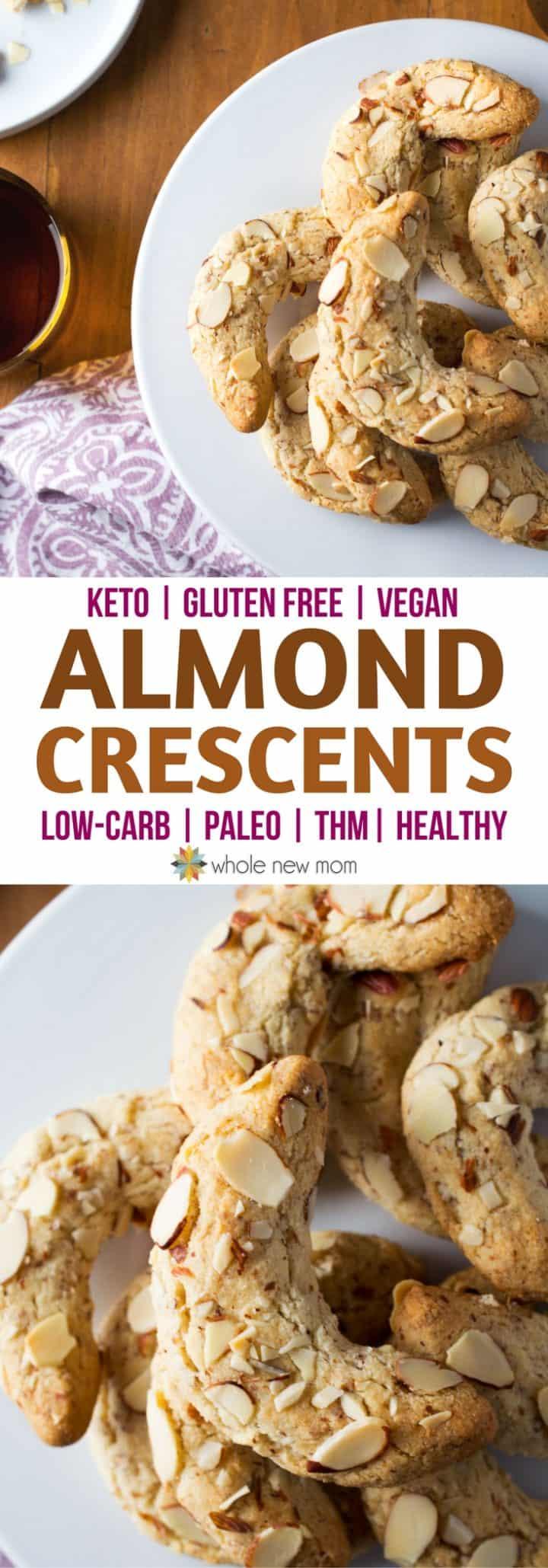 Almond Crescent Cookies - low carb, keto, sugar free, vegan option, paleo