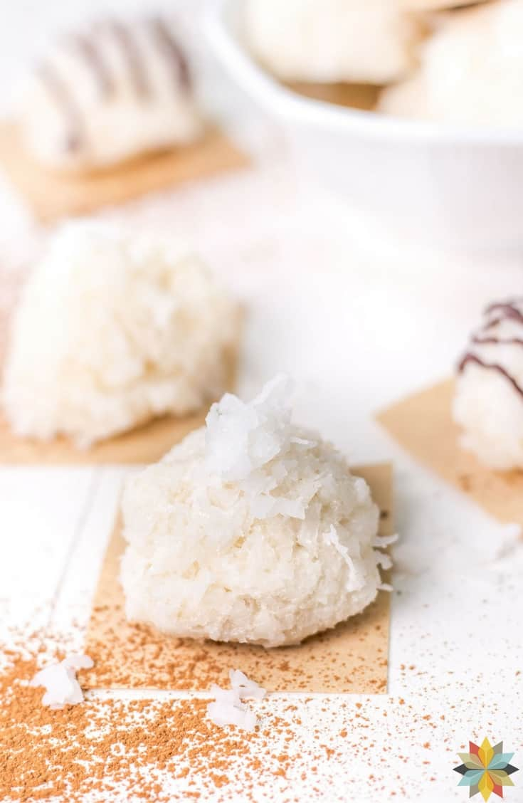 No Bake Coconut Cookies - No Bake Coconut Delights - keto, low carb, paleo, gluten free, AIP, THM