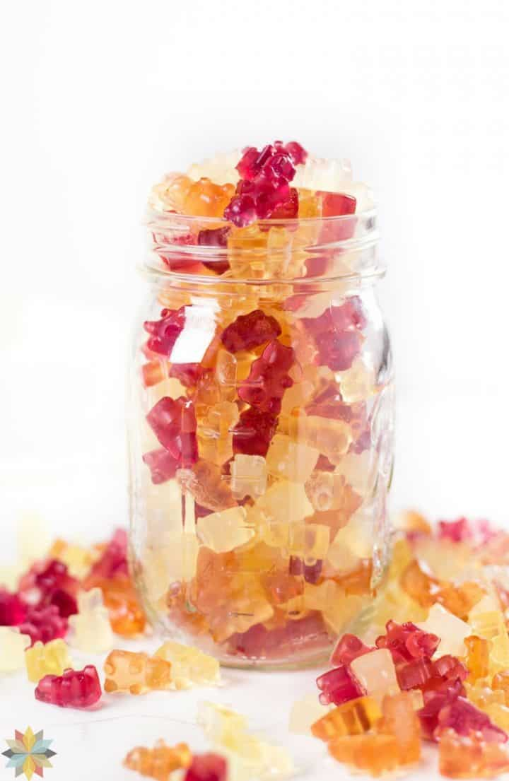 homemade gummies with a glass jar