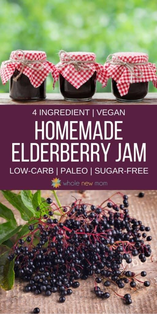 Homemade Elderberry Jam - low carb and sugar-free options
