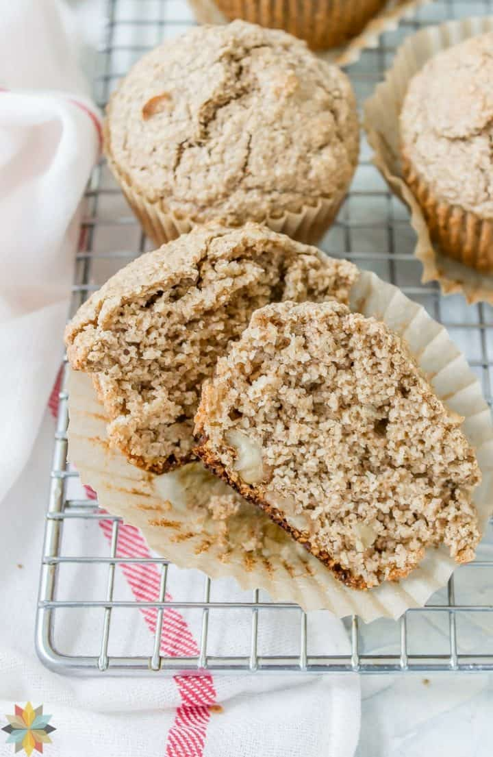 Oat Bran Muffins - one muffin cut in half