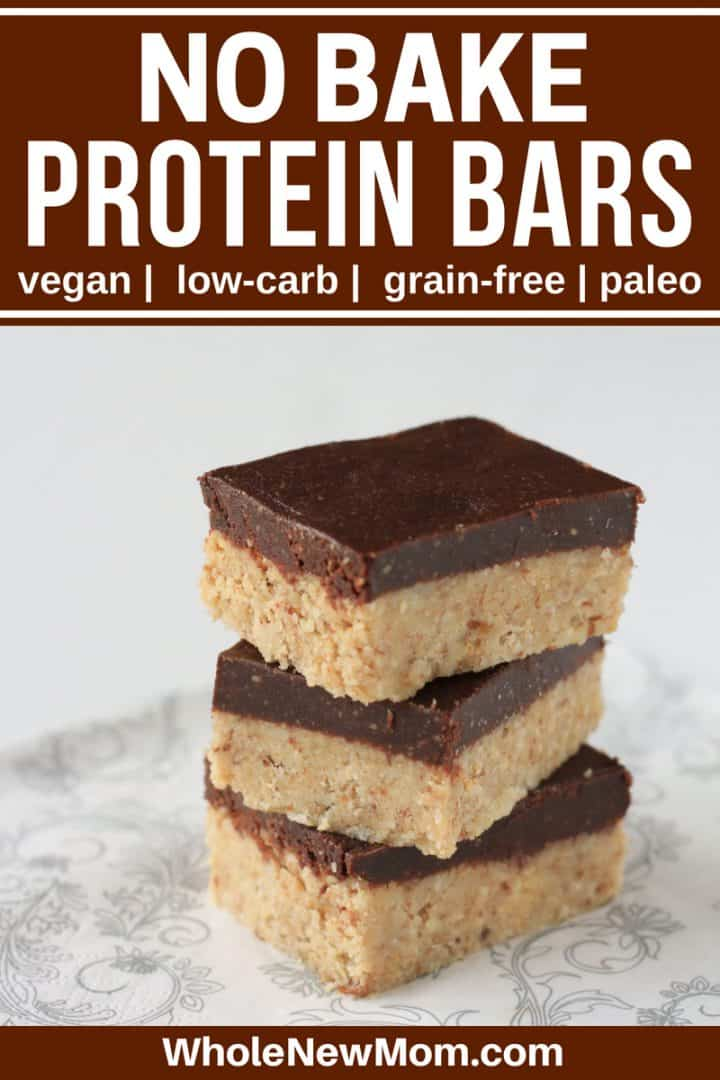 Homemade Protein Bars in a stack on gray and white napkin