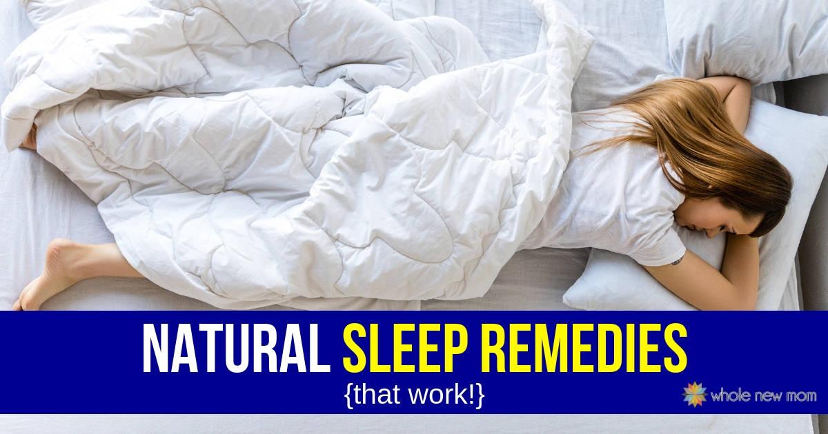 Woman sleeping on white bed - Natural Sleep Remedies