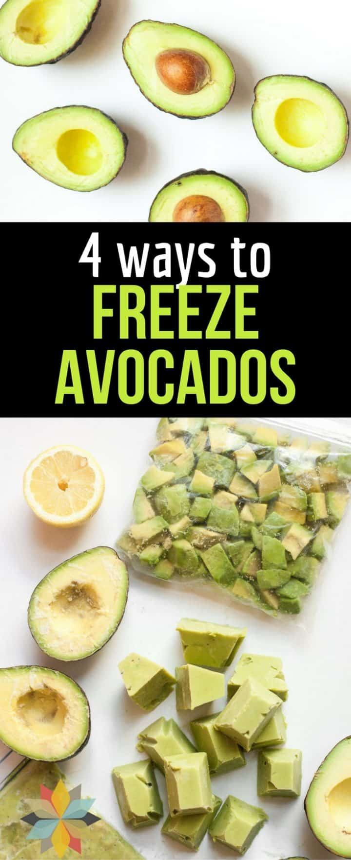 avocado halves, cubed avocado puree, guacamole, and lemon half for freezing avocados