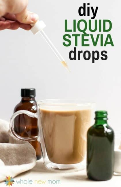 hand dropping homemade liquid stevia drops into a cup of coffee