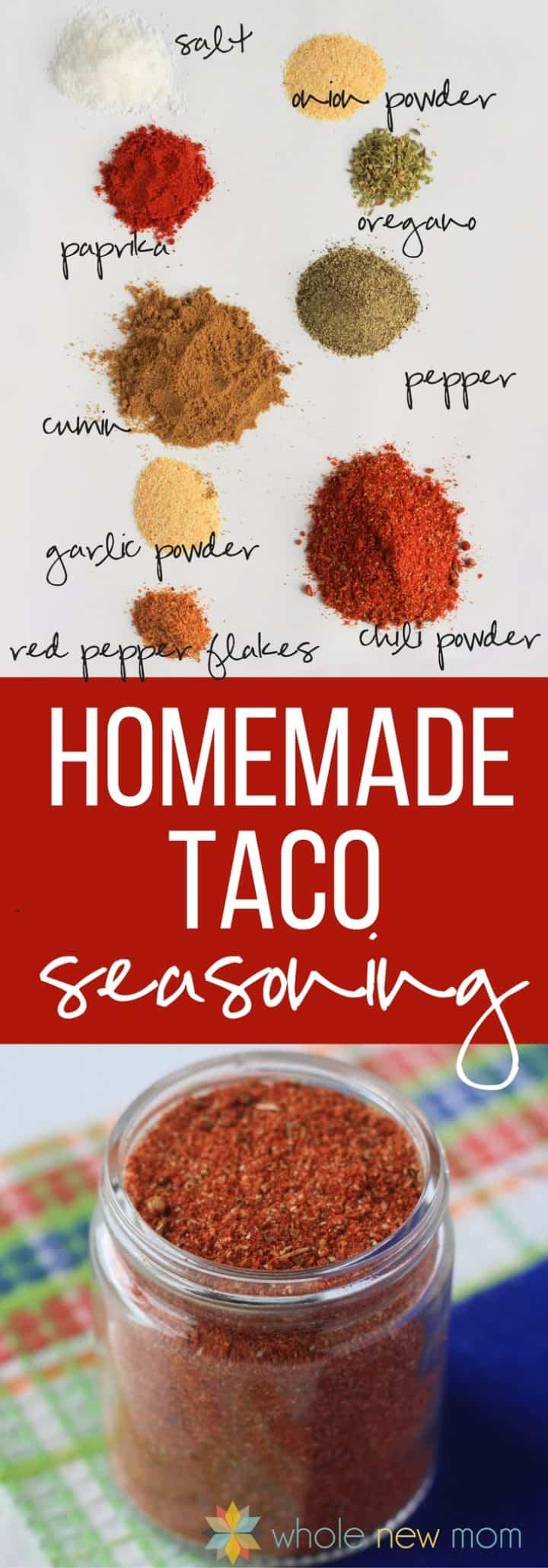 collage of homemade taco seasoning in a glass jar & taco seasoning ingredients