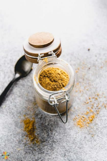 homemade curry powder in glass jar