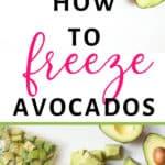 avocado halves, cubed avocado puree, guacamole, and lemon half for freezing avocados