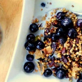 buckwheat granola with blueberries in white bowl with spoon