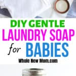 collage of homemade baby laundry detergent with ingredients