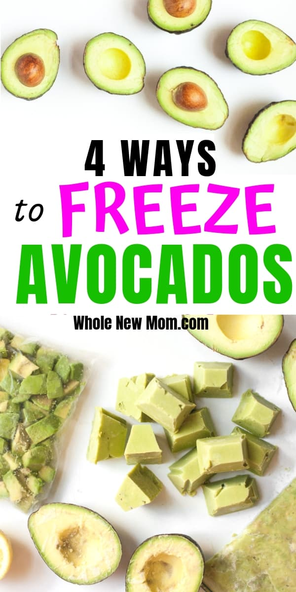 collage of avocado halves and different ways to freeze avocados