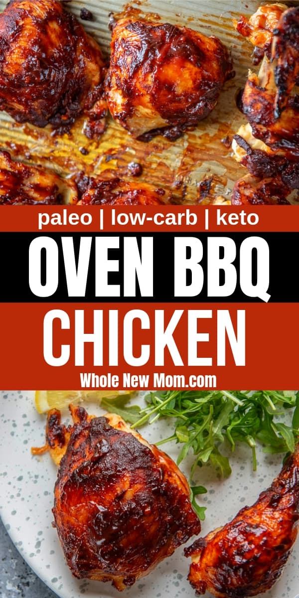 oven bbq chicken on plate and on a pan