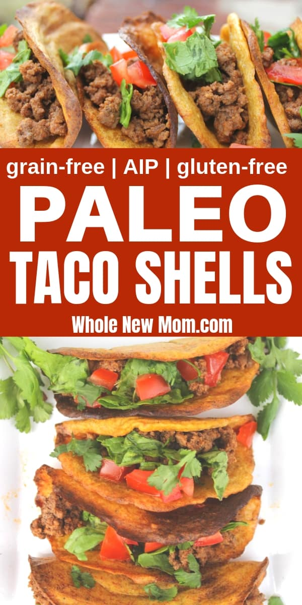 paleo taco shells with taco meat, lettuce, and tomato
