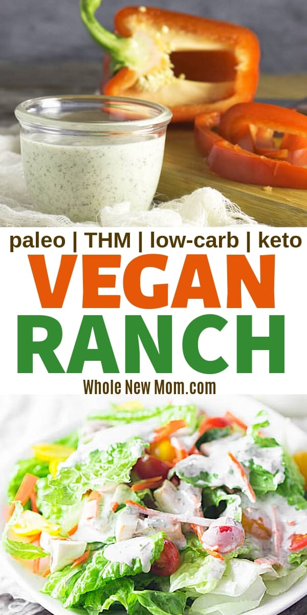 collage of vegan ranch dressing on salad and with red peppers for dipping