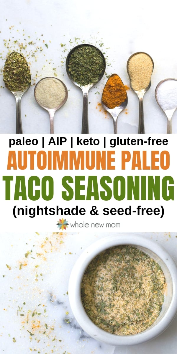 aip taco seasoning in white bowl and ingredients on spoons