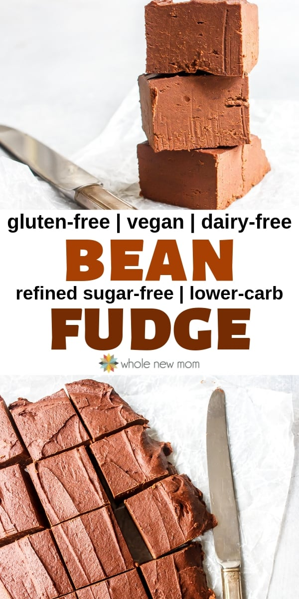 healthy bean fudge on cutting board with a knife