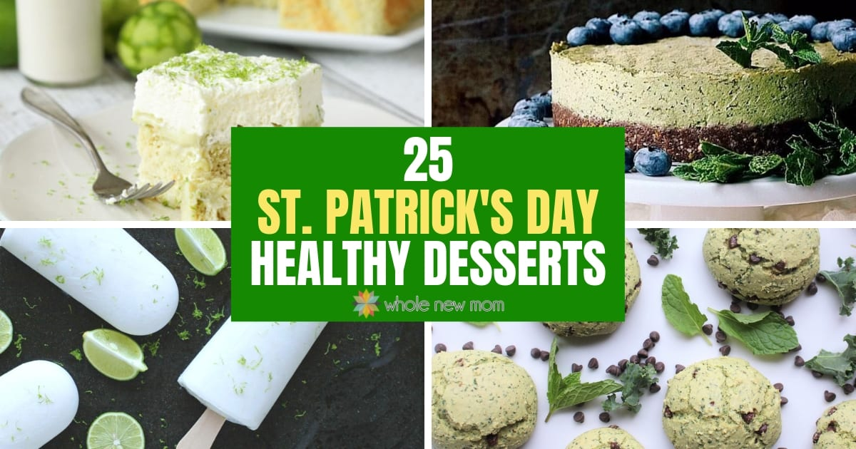collage of healthy St. Patrick's Day Desserts