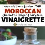 moroccan vinaigrette dressing in glass bottles with salad